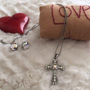 Crystal cross necklace/earrings set